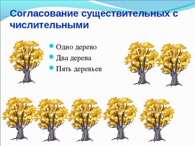 Согласование существительных с числительными Одно дерево Два дерева Пять дере...
