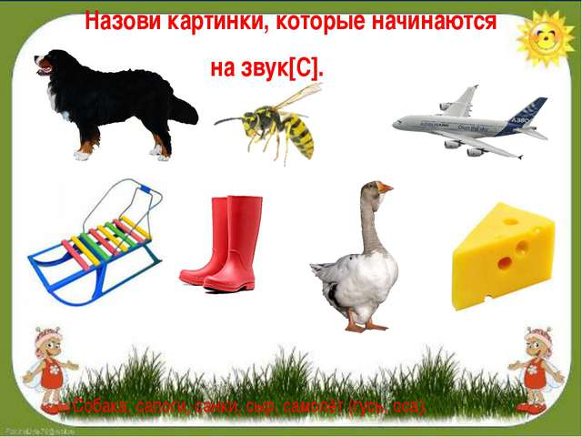 Назови картинки, которые начинаются на звук[C]. Собака, сапоги, санки, сыр, с...