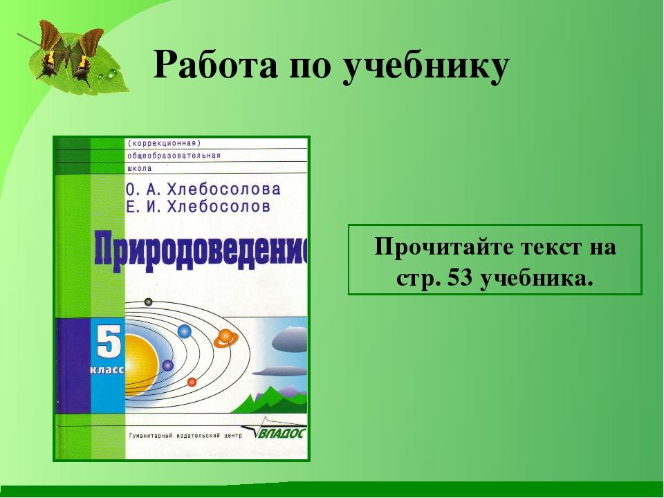 Работа по учебнику Прочитайте текст на стр. 53 учебника.