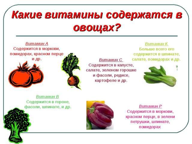 Какие витамины содержатся в овощах? Витамин А Содержится в моркови, помидорах...