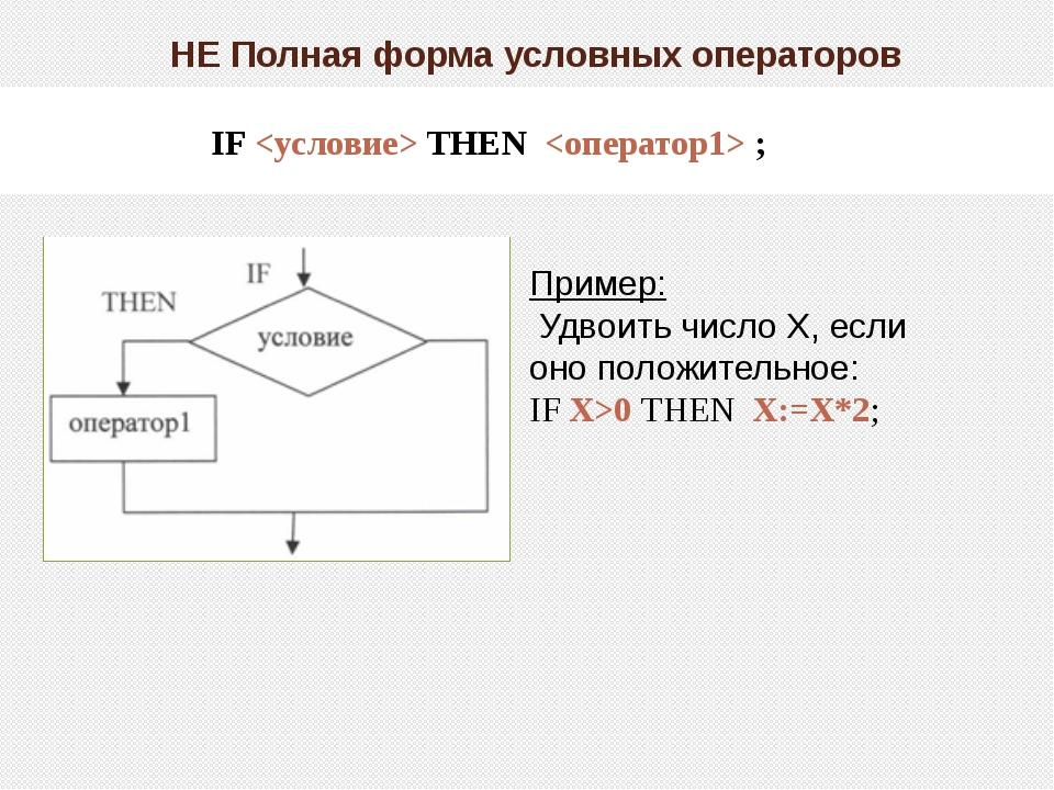 НЕ Полная форма условных операторов IF  THEN  ; Пример: Удвоить число Х, есл...