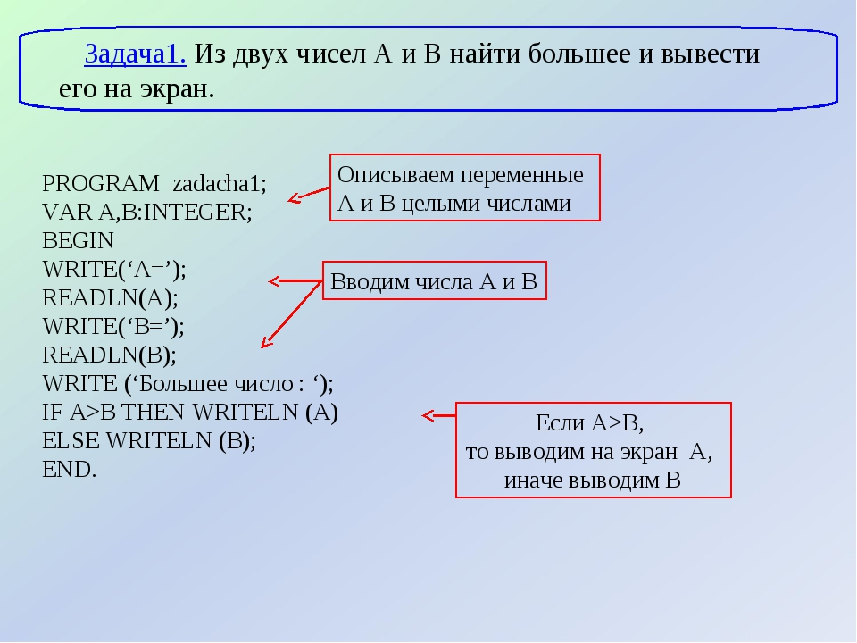 PROGRAM zadacha1; VAR A,B:INTEGER; BEGIN WRITE('A='); READLN(A); WRITE('B=');...