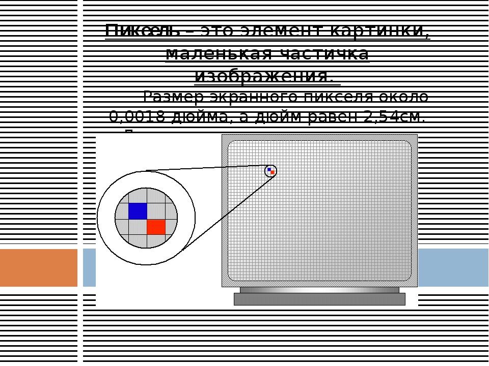 Пиксель – это элемент картинки, маленькая частичка изображения. Размер экранн...