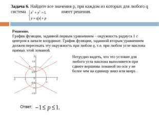Задача 6. Найдите все значения р, при каждом из которых для любого q система