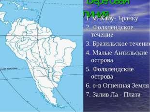 Береговая линия 1. м. Кабу- Бранку 2. Фолклендское течение 3. Бразильское те