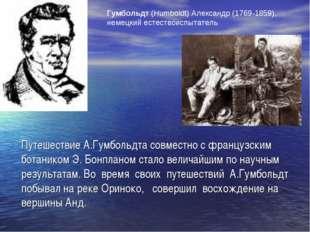 Путешествие А.Гумбольдта совместно с французским ботаником Э. Бонпланом стало