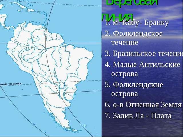 Береговая линия 1. м. Кабу- Бранку 2. Фолклендское течение 3. Бразильское те...