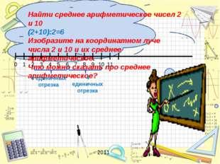 Найти среднее арифметическое чисел 2 и 10 (2+10):2=6 Изобразите на координат