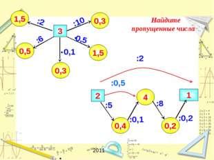 1 0,3 0,4 1,5 0,3 0,5 1,5 3 :2 4 0,2 2 :10 Найдите пропущенные числа :6 :0,2