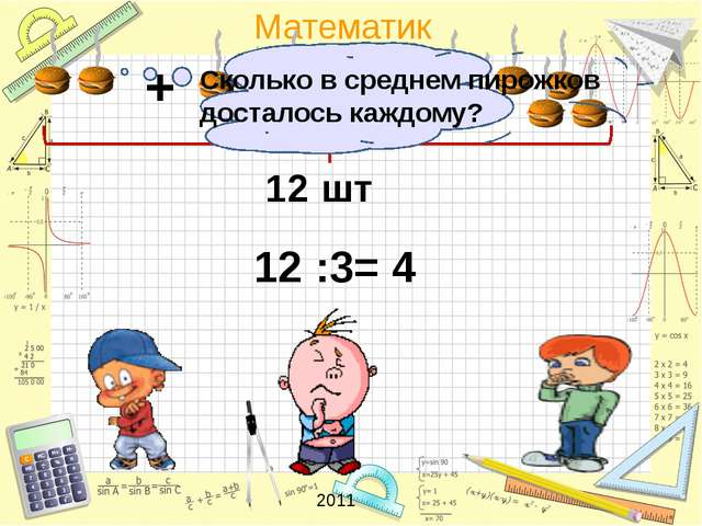 12 шт + + 12 :3= 4 Сколько в среднем пирожков досталось каждому? 2011 Математ...