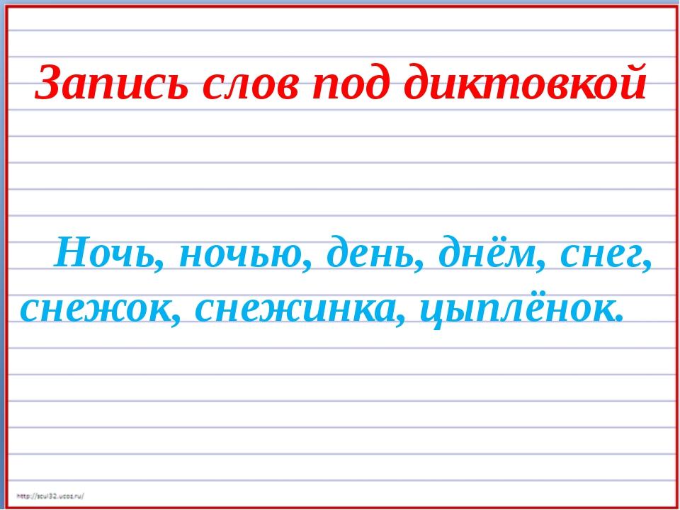 Запись слов под диктовкой Ночь, ночью, день, днём, снег, снежок, снежинка, ц...