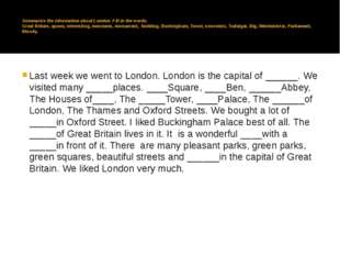 Summarize the information about London. Fill in the words. Great Britain, qu