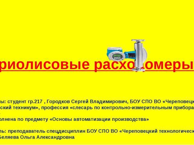 кориолисовые расходомеры Автор работы: студент гр.217 , Городков Сергей Влад...