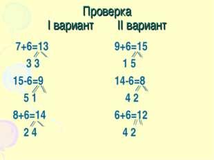 Проверка I вариант II вариант 7+6=13 3 3 15-6=9 5 1 8+6=14 2 4 9+6=15 1 5 14-