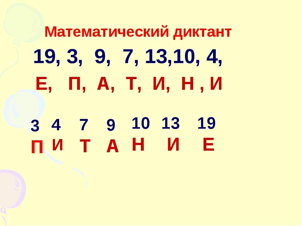 Математический диктант 19, 3, 9, 7, 13,10, 4, 3 П 7 Т 10 Н 19 Е 9 А 4 И 13 И...