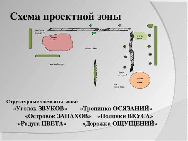 Схема проектной зоны Структурные элементы зоны: «Уголок ЗВУКОВ» «Тропинка ОСЯ...