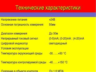Технические характеристики  Напряжение питания+24В Основная погрешность изм