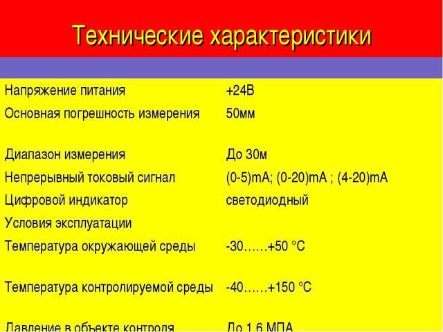Технические характеристики  Напряжение питания+24В Основная погрешность изм...
