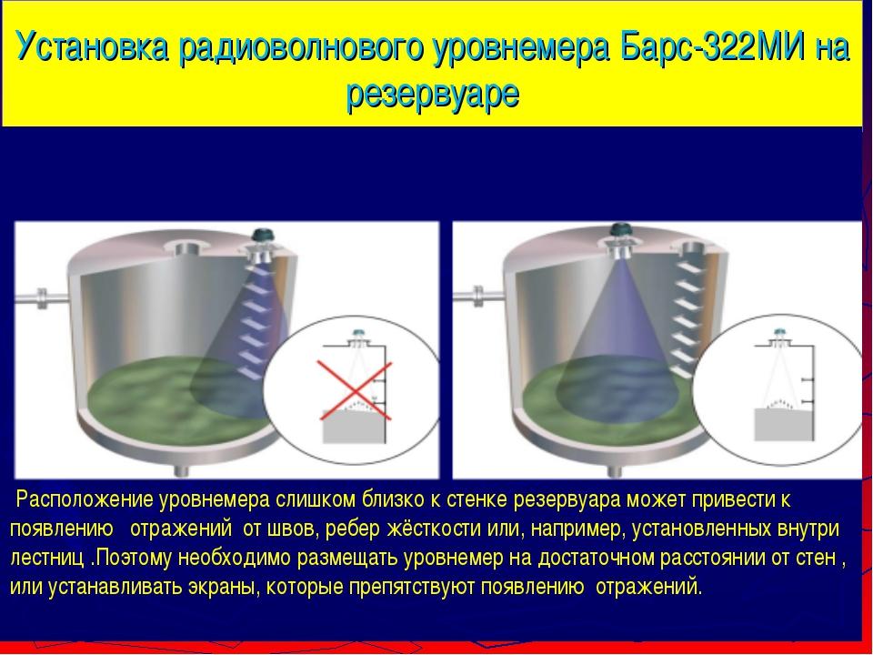 Установка радиоволнового уровнемера Барс-322МИ на резервуаре Расположение уро...