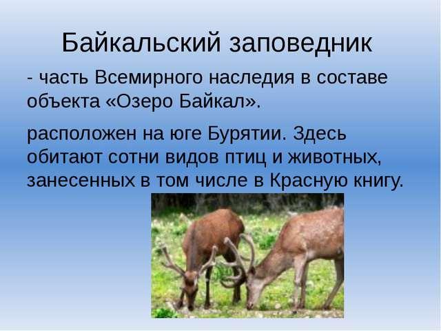 Байкальский заповедник - часть Всемирного наследия в составе объекта «Озеро Б...