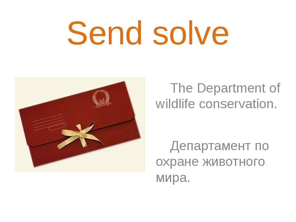 Send solve The Department of wildlife conservation. Департамент по охране жив...