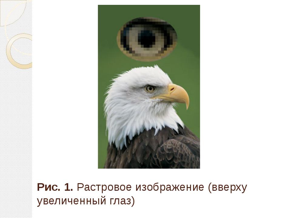 Рис. 1. Растровое изображение (вверху увеличенный глаз)