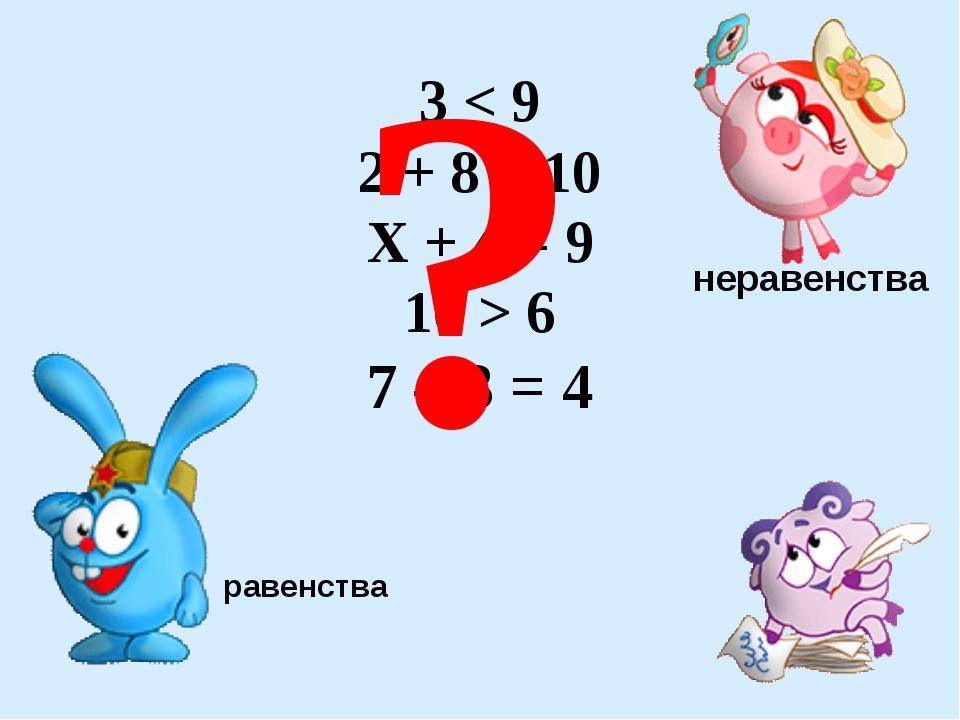 3 < 9 2 + 8 = 10 Х + 4 = 9 10 > 6 7 – 3 = 4 ? неравенства равенства