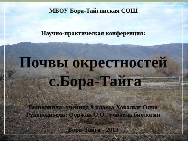 МБОУ Бора-Тайгинская СОШ Научно-практическая конференция: Почвы окрестностей...