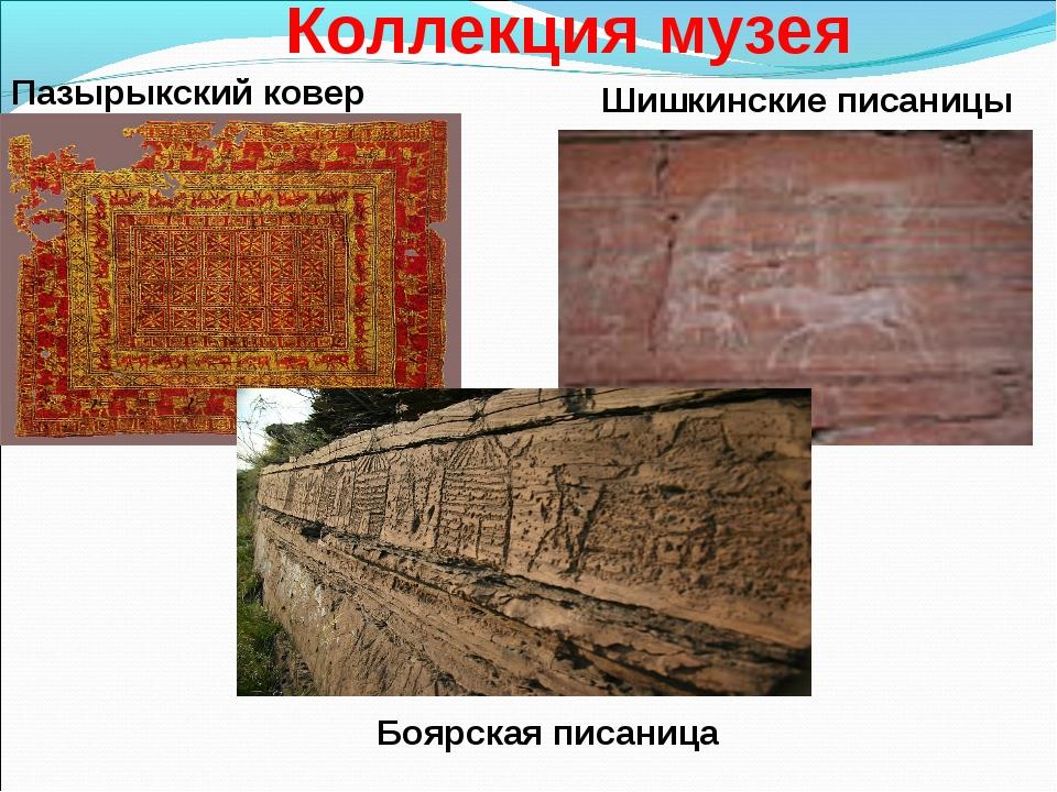 Коллекция музея Пазырыкский ковер Шишкинские писаницы Боярская писаница