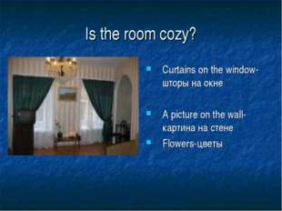 Is the room cozy? Curtains on the window- шторы на окне A picture on the wall
