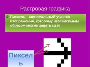Растровая графика Пиксель – минимальный участок изображения, которому независ