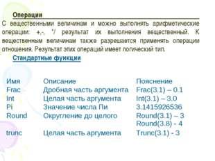 Операции С вещественными величинам и можно выполнять арифметические операции: