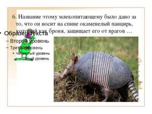 6. Название этому млекопитающему было дано за то, что он носит на спине окаме