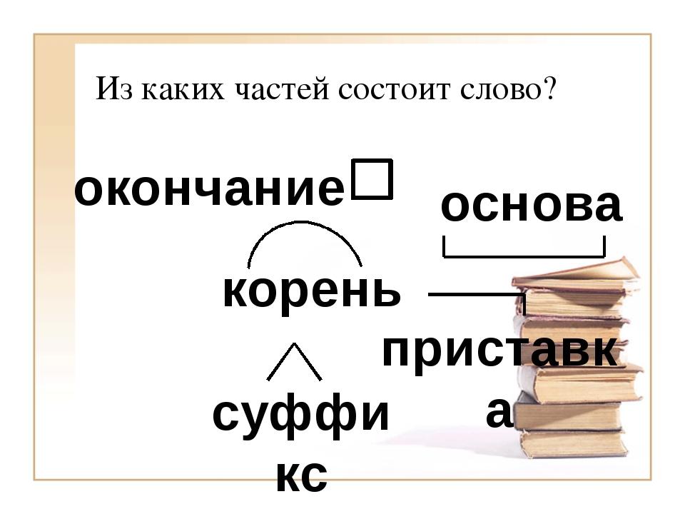Из каких частей состоит слово? корень суффикс приставка основа окончание