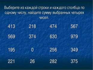 Выберите из каждой строки и каждого столбца по одному числу, найдите сумму вы