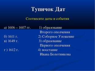 Тупичок Дат Соотнесите даты и события а) 1606 – 1607 гг. 1) образование Втор