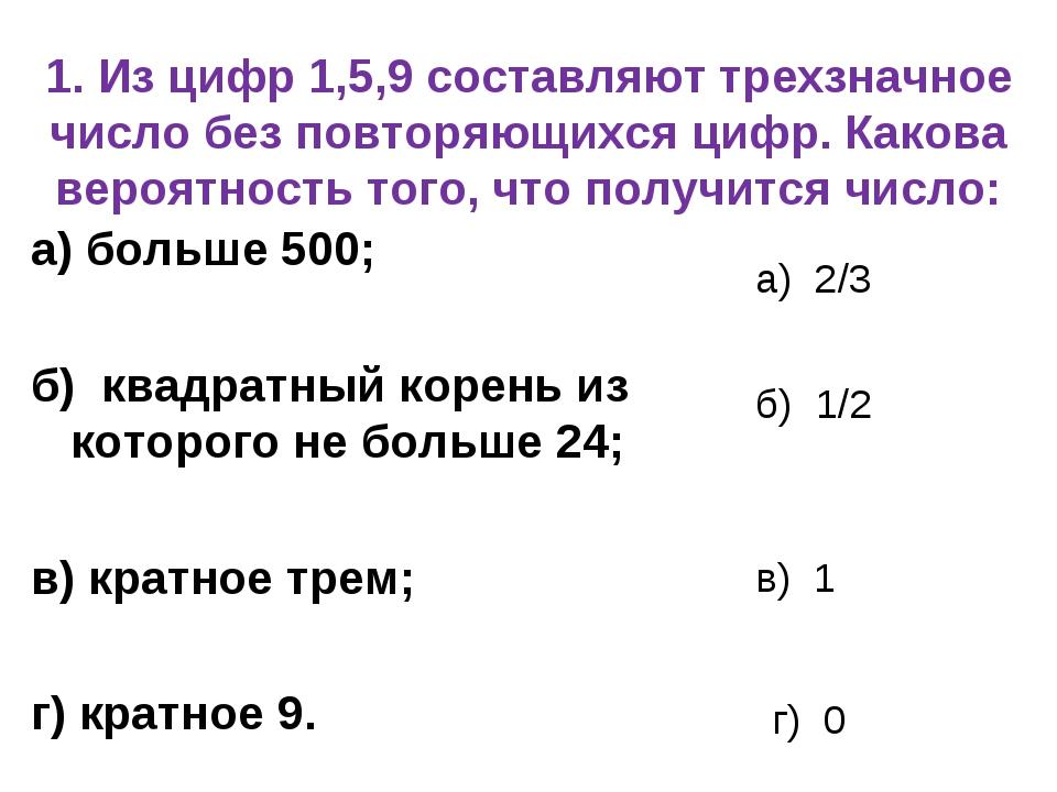 1. Из цифр 1,5,9 составляют трехзначное число без повторяющихся цифр. Какова...