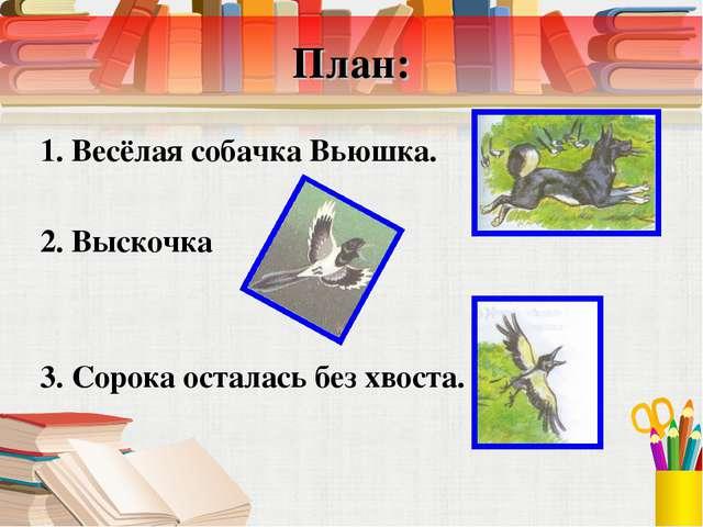 План: 1. Весёлая собачка Вьюшка. 2. Выскочка 3. Сорока осталась без хвоста.
