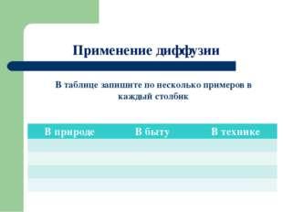 Применение диффузии В таблице запишите по несколько примеров в каждый столбик