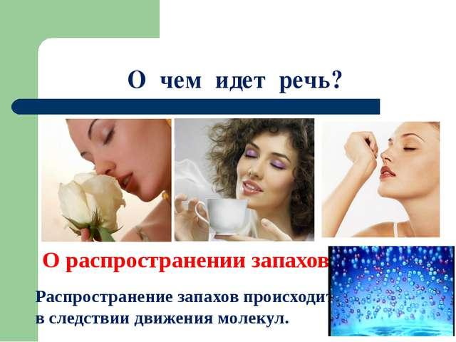 О чем идет речь? О распространении запахов Распространение запахов происходит...