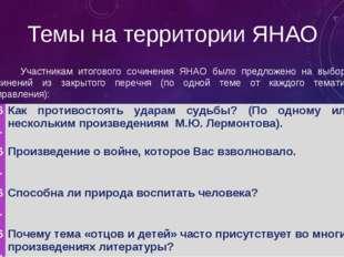 Темы на территории ЯНАО Участникам итогового сочинения ЯНАО было предложено