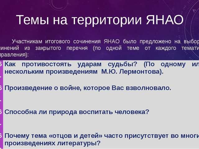 Темы на территории ЯНАО Участникам итогового сочинения ЯНАО было предложено...