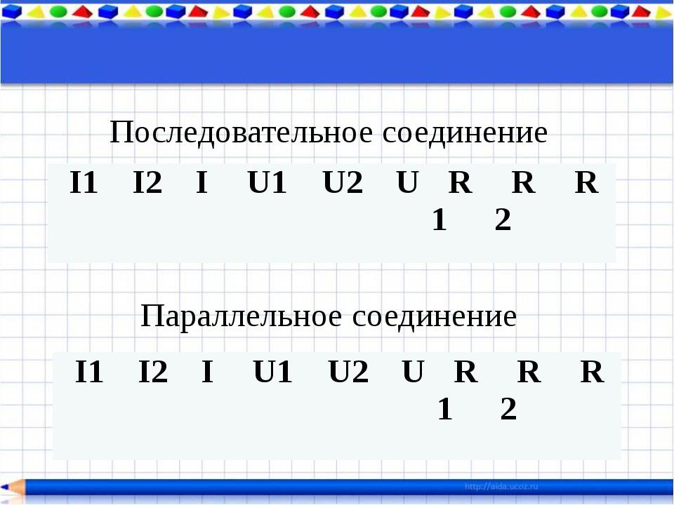 Последовательное соединение Параллельное соединение I1 I2 I U1 U2 U R1 R2 R I...
