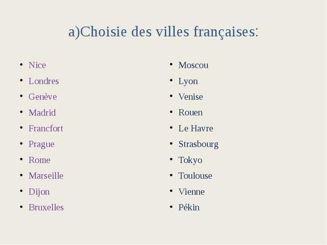 a)Choisie des villes françaises: Nice Londres Genève Madrid Francfort Prague...