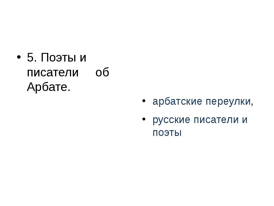 5. Поэты и писатели об Арбате. арбатские переулки, русские писатели и поэты
