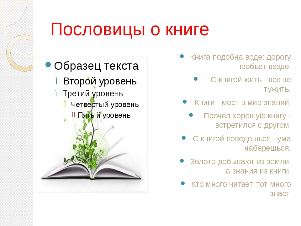 Пословицы о книге Книга подобна воде: дорогу пробьет везде. С книгой жить - в...