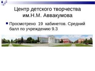 Центр детского творчества им.Н.М. Аввакумова Просмотрено 19 кабинетов. Средни