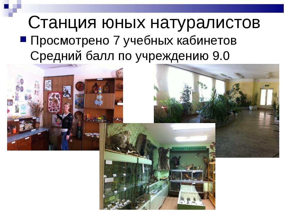 Станция юных натуралистов Просмотрено 7 учебных кабинетов Средний балл по учр...