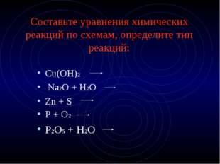 Составьте уравнения химических реакций по схемам, определите тип реакций: Cu(