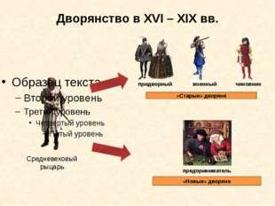Дворянство в XVI – XIX вв. Средневековый рыцарь придворный военный чиновник «